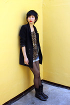H&M blazer - Joy & Peace boots - Promod shorts - from hong kong top