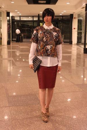 H&M top - Payless boots - Mango shirt - Zara skirt