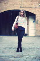 silver Topshop sweatshirt - black Marc by Marc Jacobs jeans - navy H&M shirt