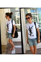 YSL shirt - Topshop shorts - Jill Sander bag - Victoria Beckham sunglasses