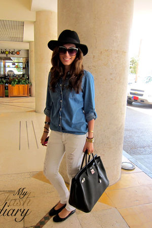 Topshop shirt - Siwy jeans - Repetto shoes - hermes birkin bag