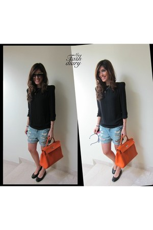 Hermes Kelly bag - Victoria Beckham sunglasses - lanvin flats - Topshop shorts