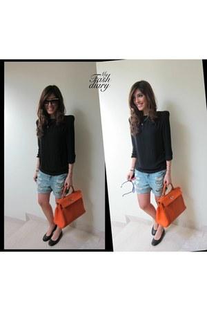 Hermes Kelly bag - Victoria Beckham sunglasses - lanvin flats - Topshop shorts