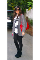 wedges shoes - black leggings - Karl who t-shirt - red Chanel purse
