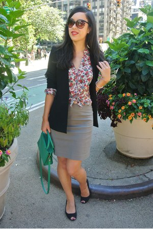 black Forever 21 blazer - green thrifted bag - heather gray thrifted skirt