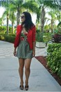 Red-forever-21-blazer-army-green-thrifted-skirt
