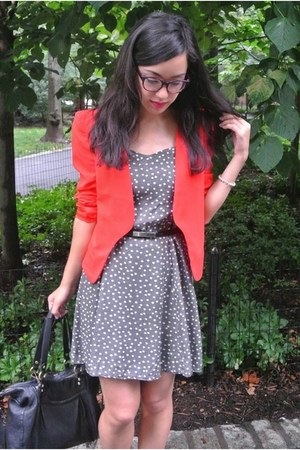 red Forever 21 blazer - floral thrifted vintage dress - black coach bag