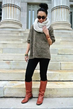 brown thrifted boots - dark brown thrifted sweater - eggshell scarf