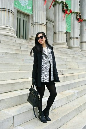 black Theory coat - black kate spade bag - black Forever 21 sunglasses