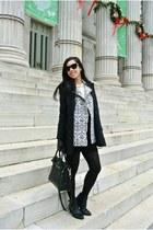black Theory coat - black kate spade bag - black Forever 21 sunglasses