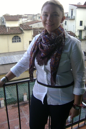white shirt - jeans - brown belt - Misako scarf