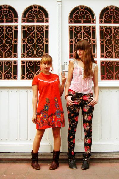 black flower H&M pants - black studded unknown brand boots - crimson Sasha boots