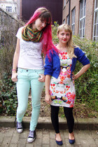 black Converse shoes - hot pink flower H&M dress - light blue Dr Denim jeans