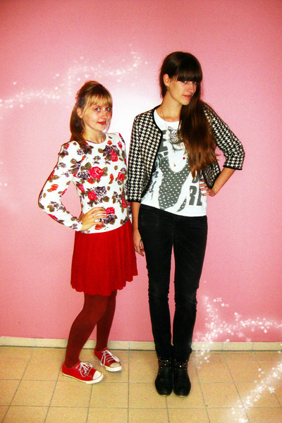 black H&M jeans - white H&M sweater - red schoolgirl H&M skirt