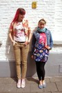 mustard leopard H&M jeans - bubble gum roses vintage jacket