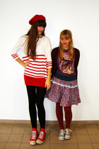 red Converse shoes - maroon star wars Junk Food shirt - red striped H&M top