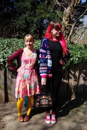bubble gum floral vintage dress - black H&M dress - navy aztec vintage sweater