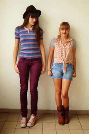 violet striped vintage shirt - tawny Van Dalen boots - maroon H&M hat