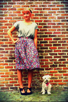 amethyst floral print vintage skirt - heather gray H&M shirt