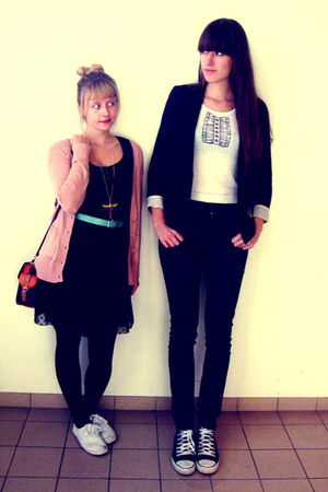 black lace H&M dress - navy high waisted H&M jeans - black H&M blazer