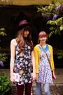 Black-diesel-boots-navy-flower-mango-dress-magenta-h-m-hat