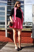 coral lace H&M dress - black Van Dalen shoes - tawny leopard print Taobao bag
