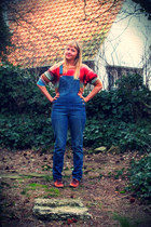 navy dungarees Esprit jeans - red ombre colors H&M sweater - tawny Sasha flats