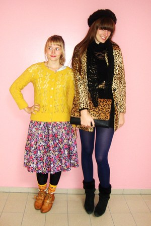 mustard leopard print H&M coat - tawny unknown brand shoes