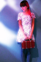 224fd25fd3 brick red coffer vintage purse - teal H M tights - white floral vintage  romper