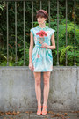 Light-blue-vintage-dress-salmon-h-m-heels-aquamarine-collar-h-m-accessories