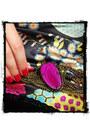 Magenta-lulus-bracelet-burnt-orange-sasha-shoes-bubble-gum-flower-h-m-dress