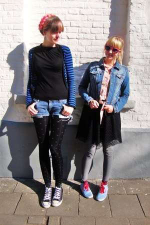 red H&amp;M shoes - black lace H&amp;M dress - sky blue jeans H&amp;M jacket