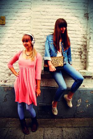 salmon striped H&M dress - sky blue H&M jeans - sky blue H&M jacket