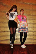 white H&M shoes - black Converse shoes - ivory cat new look shirt