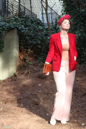 red red thrifted vintage blazer - burnt orange croc clutch vintage bag