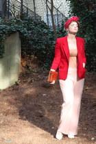 red red thrifted vintage blazer - burnt orange croc clutch vintage bag