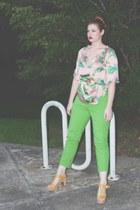 tropical leaves Target blouse - green thrifted vintage jeans - cork wedge clogs