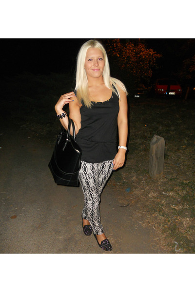 black pull&bear shirt - black Zara bag - ivory H&M pants - black Zara loafers
