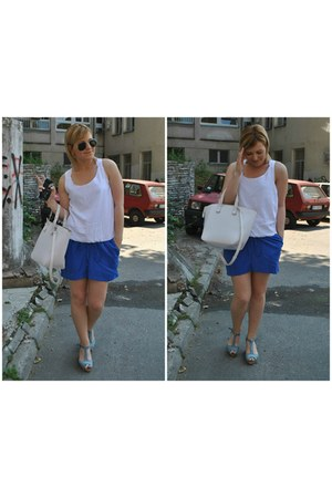 blue Takko fashion dress - white Zara bag - black c&a sunglasses