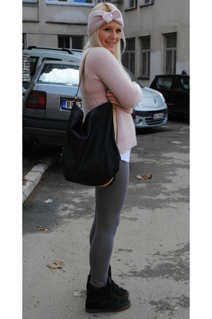 peach Peacocks hat - peach H&M sweater - silver H&M leggings - black Zara bag