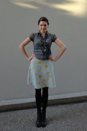 gray striped ruffle delias blouse - light blue a-line homemade skirt