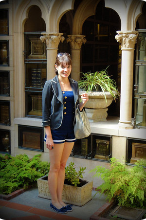 navy sailor Betsey Johnson romper - black pinstripe Bebe blazer