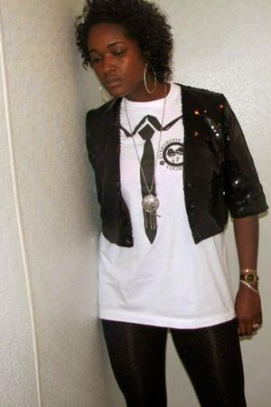 H&M blazer - DKNY leggings - vintage shirt