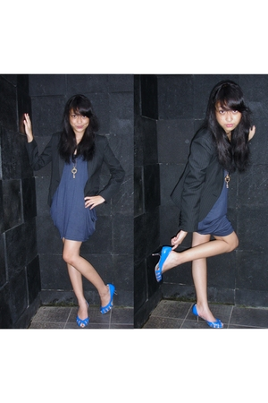 black The Executive blazer - blue dress - gold necklace - blue Charles & Keith s