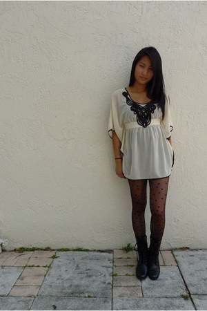 white Charlotte Russe top - black Charlotte Russe boots - black Express tights