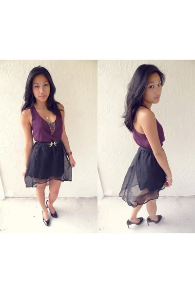 purple DIY top - black DIY skirt