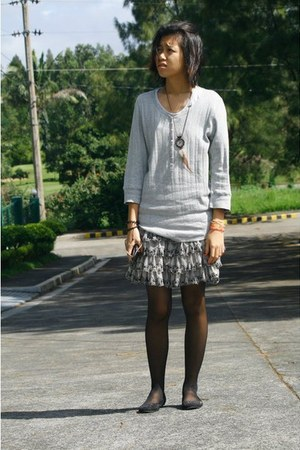 button up sweater - leggings - lace skirt - dreamcatcher thrifted necklace