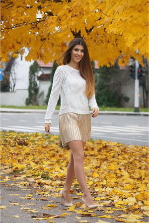 gold my design skirt - white Stradivarius vest - nude Lovelywholesale heels