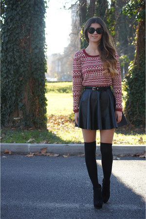 black Calzedonia socks - ruby red Springfield sweater - black tezenis skirt