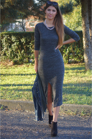 gray Bershka dress - gray H&M accessories - black humanic heels